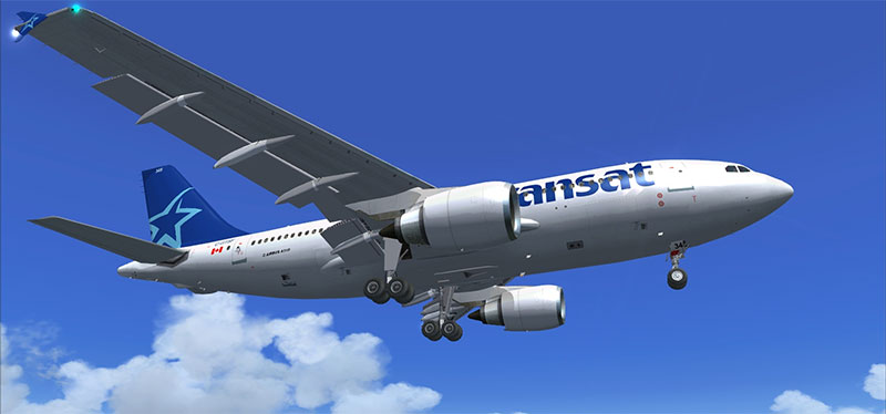 Air Transat A310 in flight in Microsoft Flight Simulator X: Steam Edition.