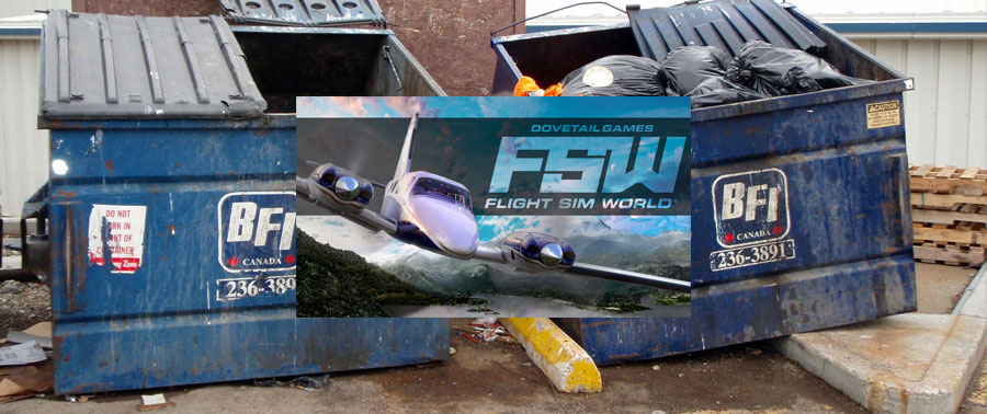 Flight Sim World logo in dumpster.