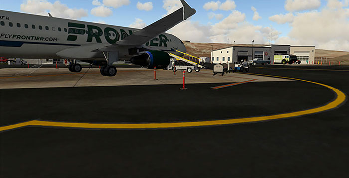 Frontier aircraft on ramp