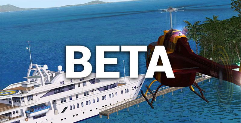 "Screenshot with helicopter from the original FSX release overlaid with the word ""Beta"""