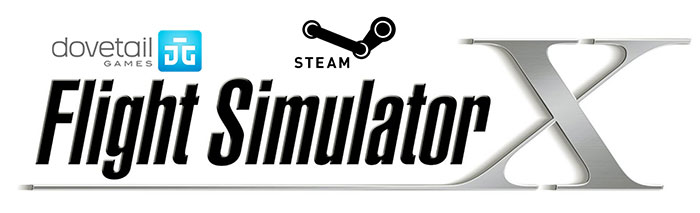 Dovetail Games, Flight Simulator X and Steam logos.