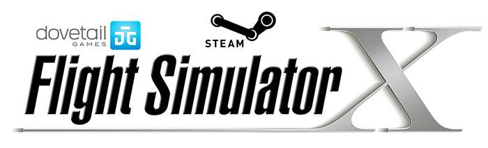Dovetail Games, Flight Simulator X and Steam logos.