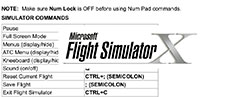 Controls/Keyboard Commands for FSX