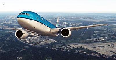 KLM 777-200 after departing Schiphol in Prepar3D v5 using this add-on.