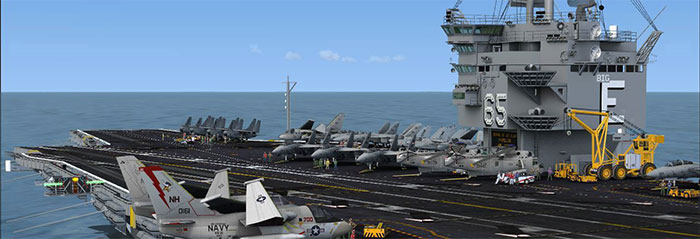 A full flight deck with many aircraft on display