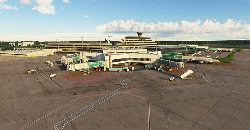 The gates and terminal building at Cologne/Bonn airport displayed in MSFS.