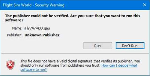 The publisher could not be verified.  Are you sure that you want to run this software?