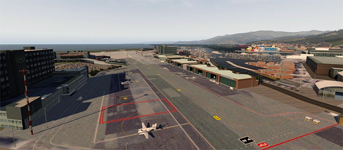 Screenshot showing the airport and terminal buildings.