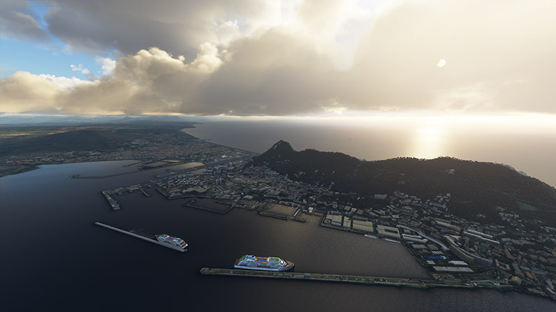 An example of the Gibraltar scenery in a stock-install of MSFS 2020 (FS2020)