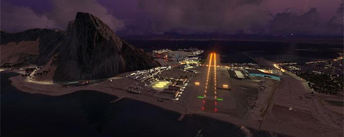 Gibraltar airport at night