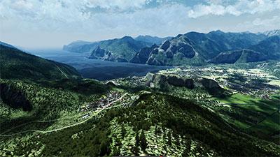 Global Mesh scenery being demonstrated in Microsoft Flight Simulator X.