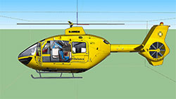 3D model of air ambulance helicopter.