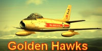 Thumbnail of Golden Hawks F-86A in flight.