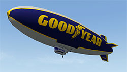 The Goodyear blimp in X-Plane 11 (in flight).