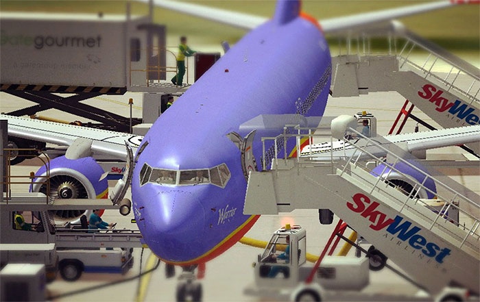 Ground services maintaining an aircraft in FSX.