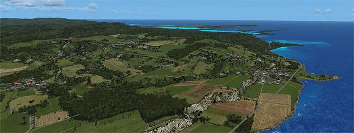 Screenshot using the Guam mesh scenery