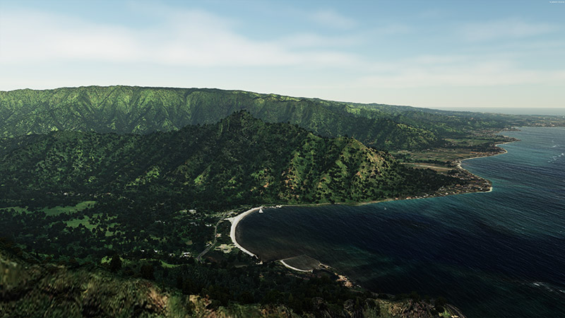 The mod showing Hawaii's dark green vegetation.