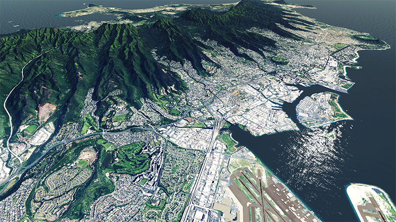 Hawaii islands in X-Plane after installing the scenery add-on.