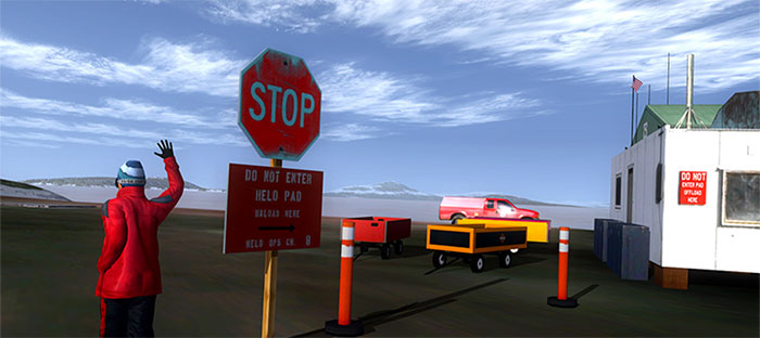 Helicopter pad stop sign