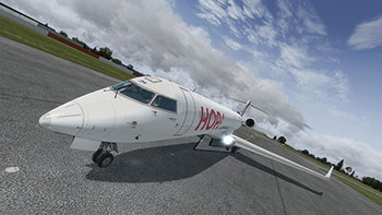 HOP CRJ on runway.