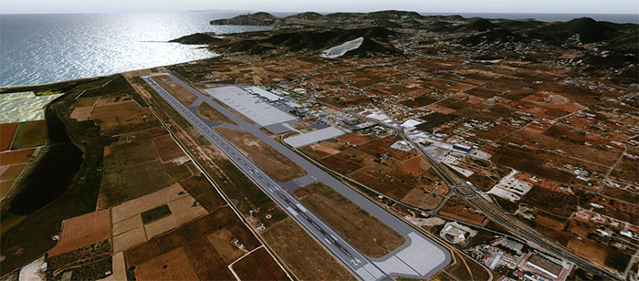 Ibiza scenery in FSX showing runway and airport.