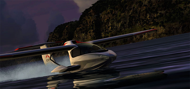 Icon A5 in water at dusk.
