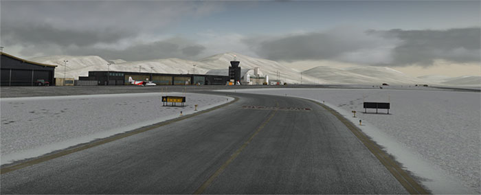 Icy taxiway