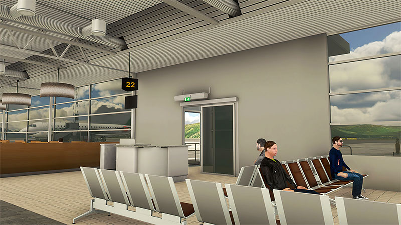 3D modeling inside the terminal buildings at Alta Airport in MSFS.