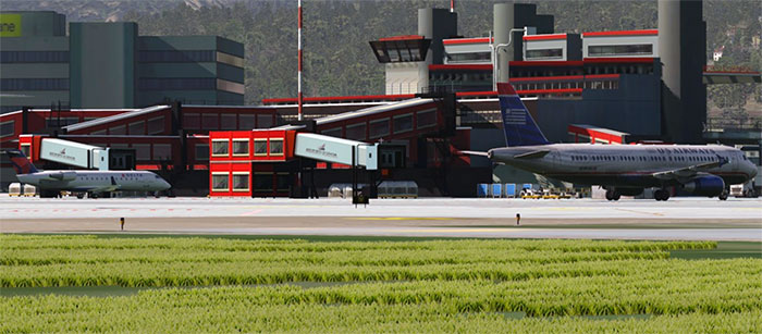 Jetways and aircraft terminal.