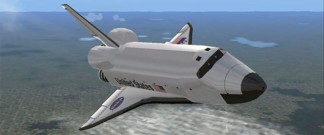 The Space Shuttle in flight.