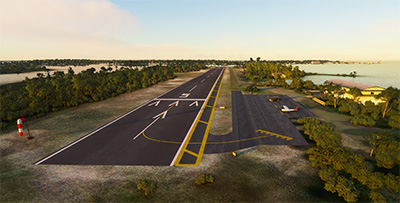 A screenshot showing the airport scenery of KCDK in MSFS (2020).