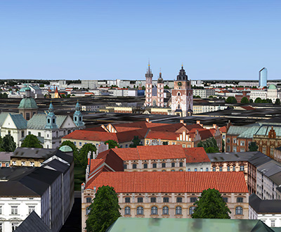 Screenshot showing scenery in Krakow in P3D.