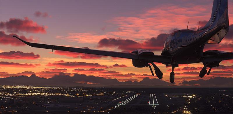 Landing at dusk.