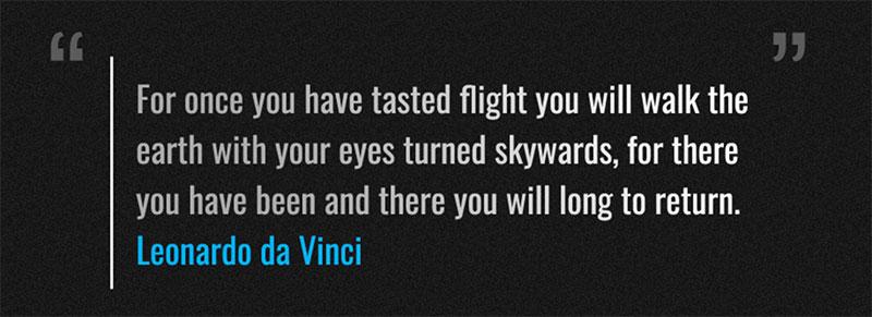 Leonardo da Vinci quote published on the official website.