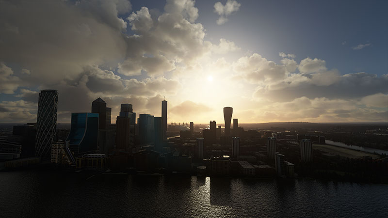 London Cityscape in MSFS with the financial district and o2 dome in background.