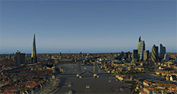 Skyline over London using the VFR scenery in XP11.
