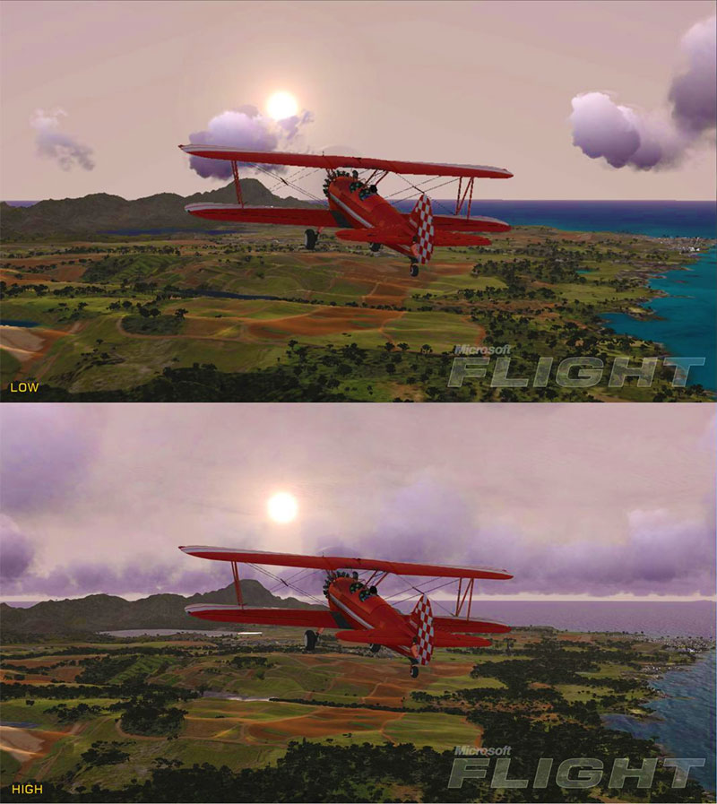 Comparison of low and high scenery settings.