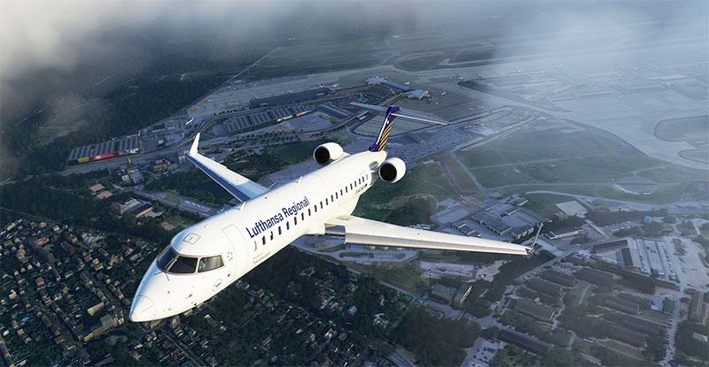 Lufthansa Regional CRJ taking off from a German airport in Microsoft Flight Simulator.