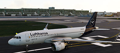 Lufthansa A320 aircraft depicted in the MSFS (2020) release.