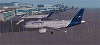 Lufthansa A319-114 in rain in FSX.