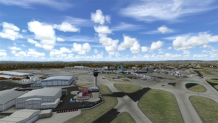 Manchester airport from the air (overview).