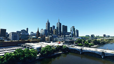 Melbourne overview in MSFS.