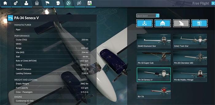 FSW aircraft selection menu.