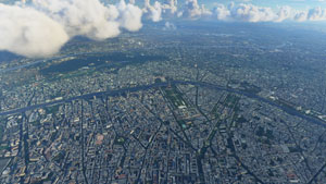 The city of Paris displayed in Microsoft's new flight simulator.