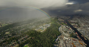A Rainbow displayed in the new flight simulator.