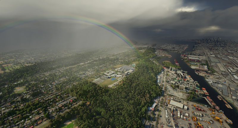 A rainbow seen for the first time in a flight sim.
