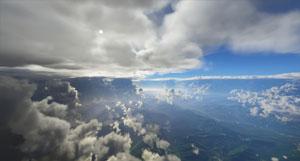 Flying through volumetric clouds.