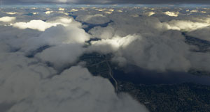 Example of volumetric clouds.