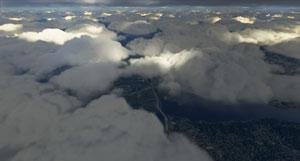 Example of volumetric clouds.