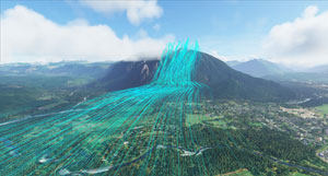 How wind is simulated over a mountain - real to life in the new simulator.